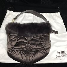 Coach Chocolate Brown Satin Quilted Rabbit Fur Signature Hobo Shoulder Bag 3586