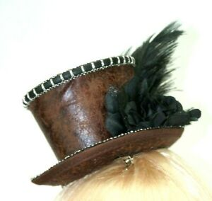 Mini Victorian Leather Costume Top Hot Brown With Feather Halloween Top Hat