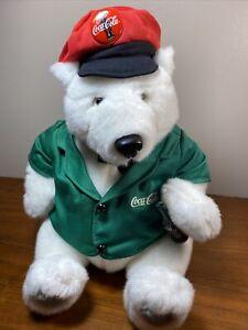 "Coca Cola White 12"" Polar Bear Plush Green Logo Vest -Red Cola Hat & Coke Bottle"