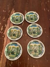 Vintage Set Of 6 Tin Litho Metal Coasters Old Fashioned Horse Buggy Street Scene