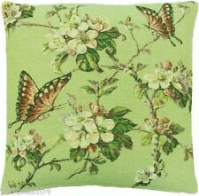 "BUTTERFLY GREEN TAPESTRY 18"" THICK FLORAL CUSHION COVER"