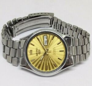 MEN'S VINTAGE SEIKO 5 DAY&DATE GENUINE DIAL AUTOMATIC WORKING WRIST WATCH