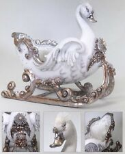 "Katherine's Collection Retired 22"" Snow Queen Swan Sleigh Display NEW"