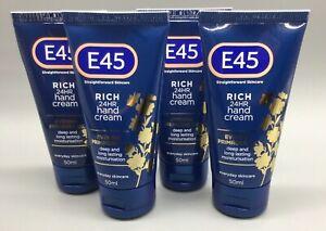 E45 Rich 24hr Hand Cream Evening Primrose Oil 4 x 50ml NEW Exp 04/22 & 06/22