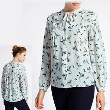 PER UNA Silky V-NECK TIE NECK Full Sleeve BLOUSE ~ Size 18 ~ IVORY & TEAL Print