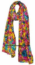 Indian Floral Hand Prints Soft Scarves Women Shawl Wrap Scarf Multi color Decor