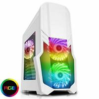 CiT CIT-GFORCE-WHTRGB G Force Mid-Tower RGB PC Gaming Case, ATX, Windowed Side