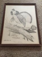 Gene Gray  Framed RUFFED GROUSE 1974 Double Signed Numbered 779/1000