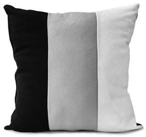 "Cushions Set of 4 3 tone Cushion covers White Black Grey 17""x17"""