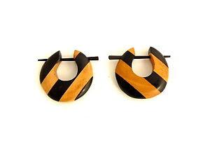 Organic Striped Crescent Tribal Earrings, 1.2mm gauge wood, Handmade, Goa, India