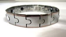 NEW Silver & Copper Gold Tungsten Carbide Men Magnetic Energy Bracelet TS135
