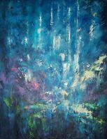 """Tableau abstrait, Paysage, Peinture originale signée HZEN : """"PLUIE D'ÉTOILES"""""""