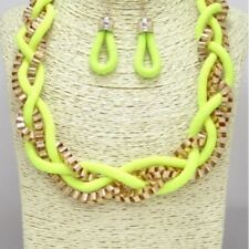 """18"""" Adjustable Neon Yellow and Gold Tone Braided Necklace W Earrings"""