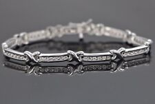 VA 14K White Gold 1.00ct Round Diamond 6.75'' Tennis Link X Style Bracelet