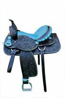 """Western Black Leather Hand Carved Barrel Racer Saddle 16"""" : Blue Gator Seat"""