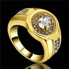 White Zircon CZ Engagement Ring 10KT Yellow Gold Filled Wedding Band Size 8