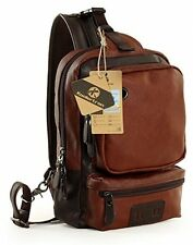 Koolertron Vintage PU Leather Shoulder Backpack Sling Chest Sport Hiking Bag