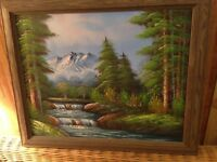 ORIGINAL Oil on Canvas Landscape Outdoor Scene Framed Painting Signed Joyce