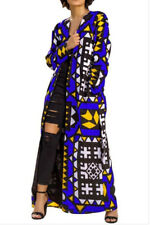 Womens Blue Geometric Kimono Cardigan Open Front Long Sleeve Maxi Jacket - XL