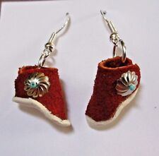 Native Navajo Leather & Silver Mini Moccasins Hook Earrings by Leo Benali JE213