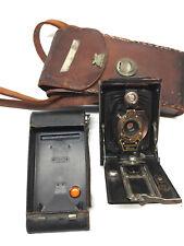 Antique Kodak No 2 Folding Autographic Brownie 120 Film Camera in Leather Case