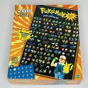 Vintage Pokemon 1999 Complete 200pc Puzzle Character Collector Chart Hasbro