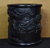 Collect noble Natural Ebony wood carved old man under pine tree party Brush Pot