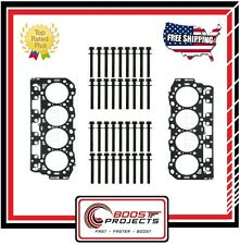 Head Bolt Set x2 & Left-Right Cylinder Head Gaskets Grade C Chevy 6.6L Duramax