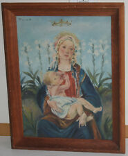 1956 Old Religion Madonna Oil Painting on Canvas Imported from Bavaria Europe