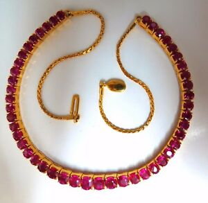33.19ct Natural Ruby Tennis Necklace 18kt Prime Vivid Reds