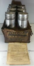 New Old Stock Set of 6 Zollner 411-D Pistons Semi Sized From 1940's