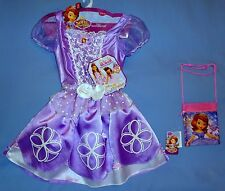 DISNEY SOFIA THE FIRST COSTUME PRINCESS DRESS 2 IN 1 GIRL 4-6X PURSE RING-LOT-4