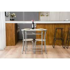 Hot Style 3 Piece Dining Set Metal Top Table and 2 Chair Kitchen Dining Room NEW