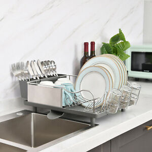 Kingrack Stainless Steel Dish Drainer Large Dish Drying Rack 2 Direction Spout
