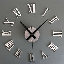 Metal Chic DIY Adhesive Silver Roman Number Wall Clock 3D Home Decor Room
