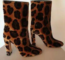 £840 NEW DOLCE&GABBANA BROWN LEOPARD PRINT VELVET HEEL BOOTS UK 4/ 37