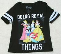 Disney Doing Royal Things Black Short Sleeve Tee T-Shirt Top Woman's Size Small
