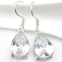 Teardrop Natural White Fire Topaz Zircon Gemstone Silver Dangle Hook Earrings