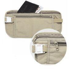 Women Men Nylon Travel Security Money Purse Belt Waist Wallet Bags Light Grey FW