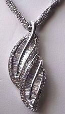 ".925 Italian Silver CZ Round & Baguette Leaf Pendant 18"" Necklace"