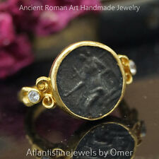 Omer 925k Hammered Sterling Silver Roman Art Oxidized Coin Ring 24k Gold Vermeil