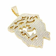 Custom 14k Gold Plated Hip Hop Iced Out Lab Diamond Ghost Jesus Piece Heavy