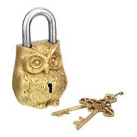 Brass Lock Key In Owl Shape Padlock Vintage Antique Old Yale Solid