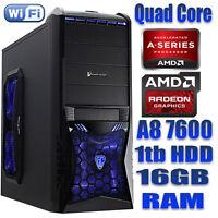 AMD A8 QUAD CORE 16GB 1TB GAMING Desktop PC R7 GRAPHICS WINDOWS 10 PRO 64BIT
