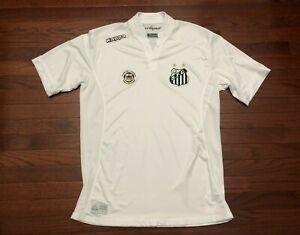 SANTOS FC FUTEBOL CLUBE TEAM SOCCER JERSEY MENS XL KAPPA WHITE S.F.C. BRAZIL