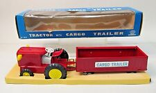 "10"" Kyoei Farm TRACTOR with CARGO TRAILER Japan 1960's tin litho mint in box"