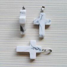 Colgante Cruz piedra natural blanco diseño religioso nueva hecha a mano + cordón