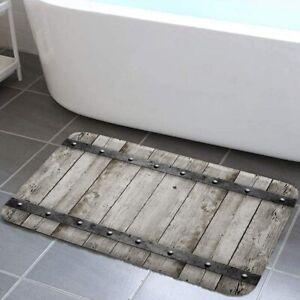 Rustic Barn Door Bathroom Rug, Western Country Theme House Decor Bath Mat