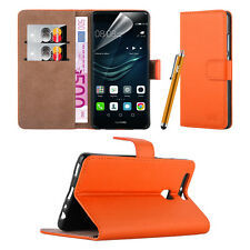 Huawei Y3- Premium Leather Slim Wallet Book Stand Case Cover Screen Protector Orange