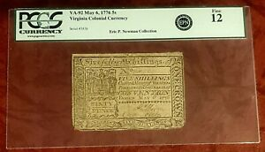 1776 VIRGINIA COLONIAL 5 SHILLINGS CURRENCY ~ ex-ERIC NEWMAN COLL ~ PCGS FINE 12